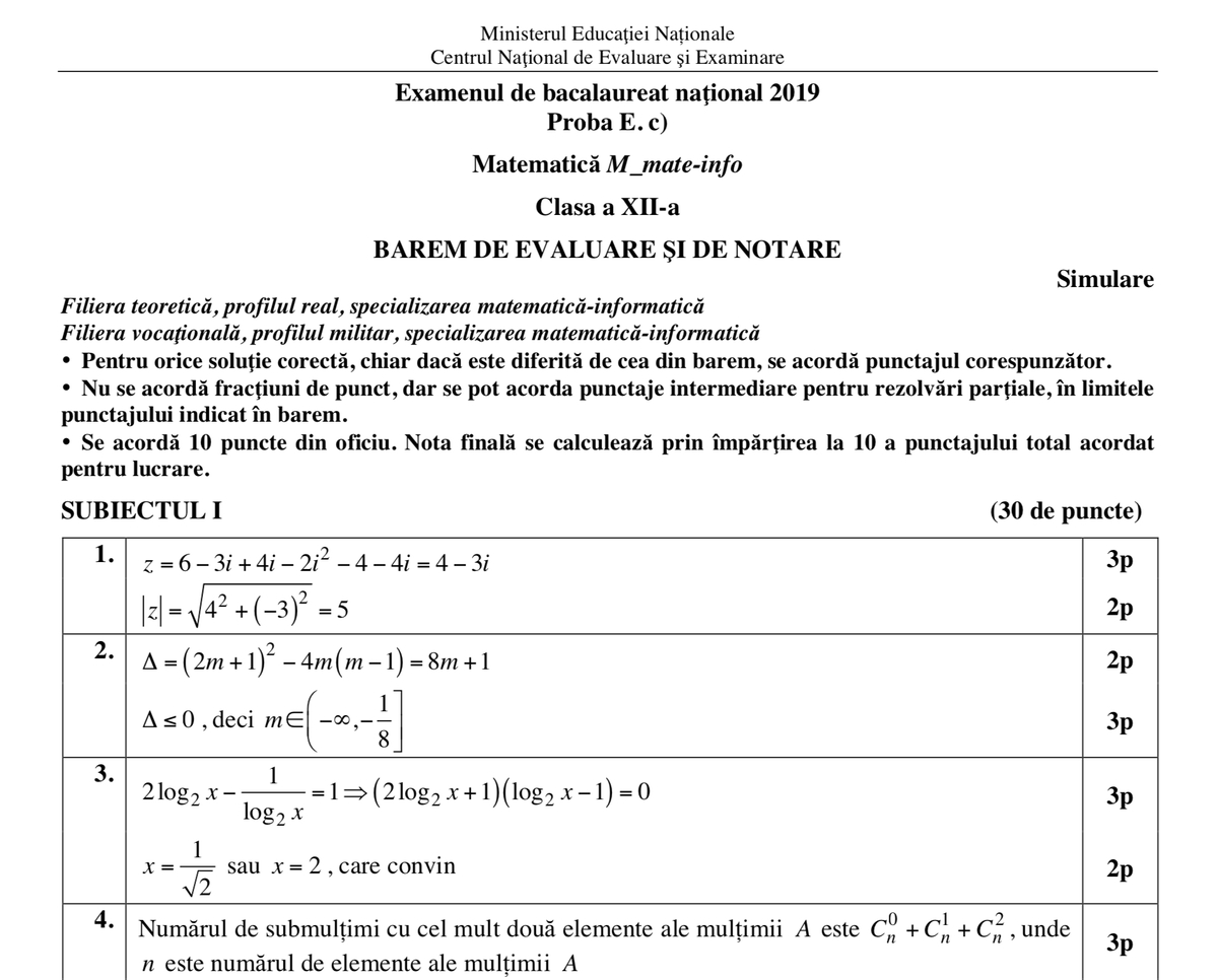 Simulare Clasa A 8 A 2019 Matematica: Barem Matematică Clasa A XI-a și Clasa A XII-a: Descarcă