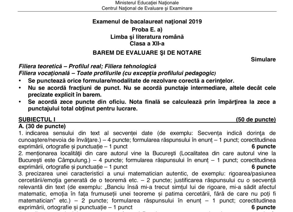 Simulare Clasa A 8 A 2019 Romana Update: Barem Simulare Limba și Literatura Română Clasa A XII-a