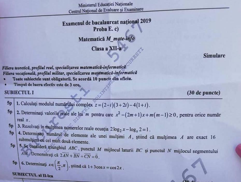 Simulare Image: Subiecte Simulare Matematica Clasa A XII-a: Cerințele Pe