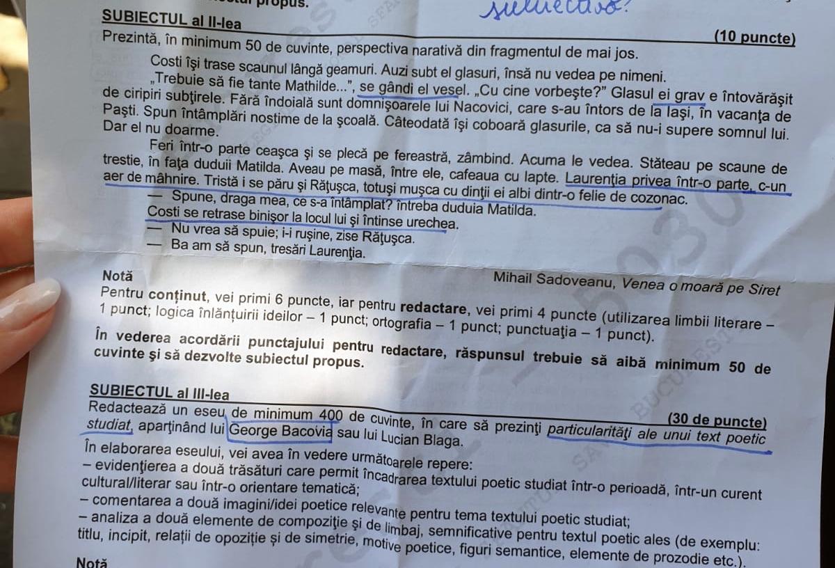 Subiectele integrale de la examenul la Limba și literatura română
