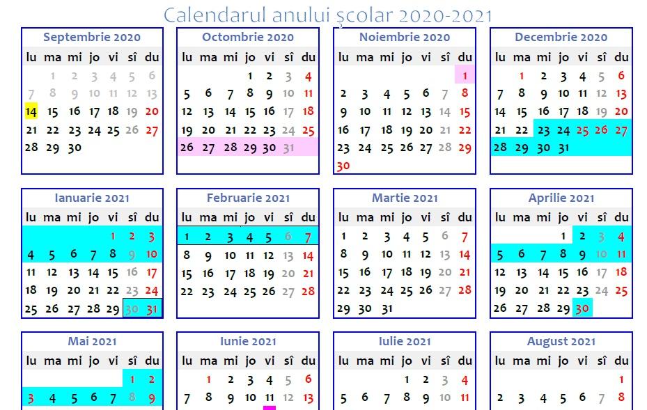 Calendarul Anului școlar 2020 2021 In Format Printabil Cand Sunt Cele Patru Vacanțe Din Acest An școlar Edupedu