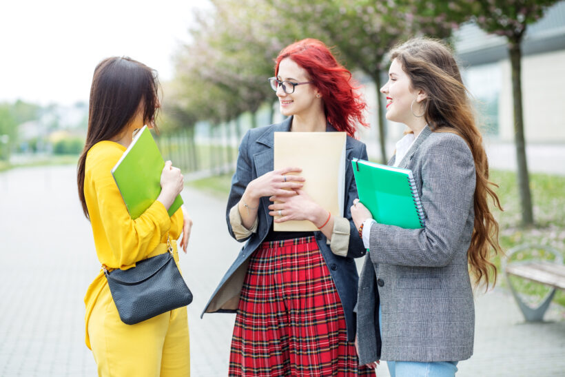 https://www.dreamstime.com/three-students-talking-their-studies-campus-education-concept-friendship-group-people-image147648226