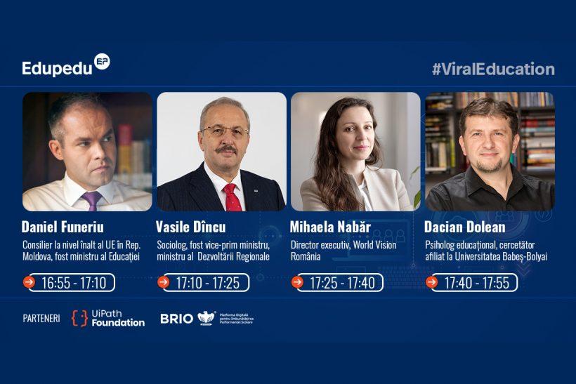 Daniel Funeriu, Vasile Dincu, Mihaela Nabar si Dacian Dolean la Conferinta Reforma digitala a educatiei, marti 8 iunie
