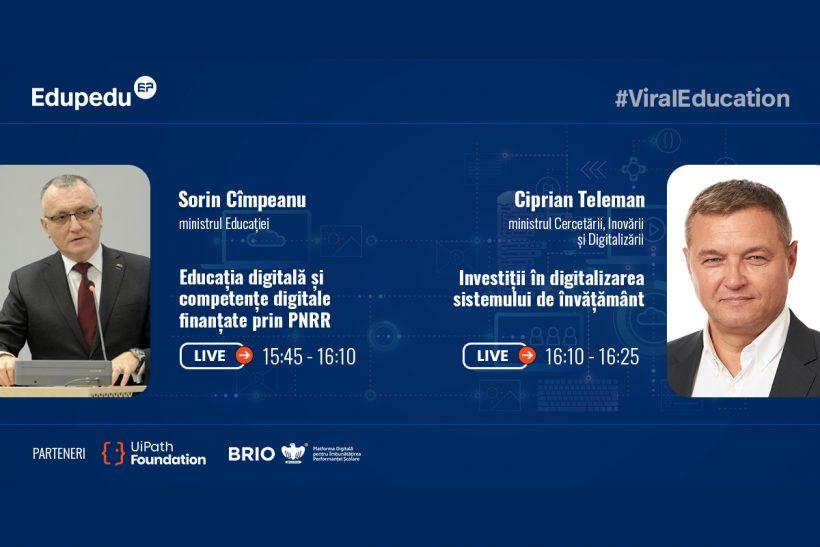 Sorin Cîmpeanu și Ciprian Teleman marți, 8 iunie, de la 15:00, la dezbaterea Reforma digitală a Educației